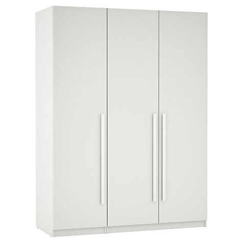 Buy House by John Lewis Mixit Block Handle Triple Wardrobe, Gloss White/Matt White Online at johnlewis.com