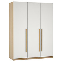 Buy House by John Lewis Mixit Block Handle Triple Wardrobe, Gloss White/Natural Oak Online at johnlewis.com