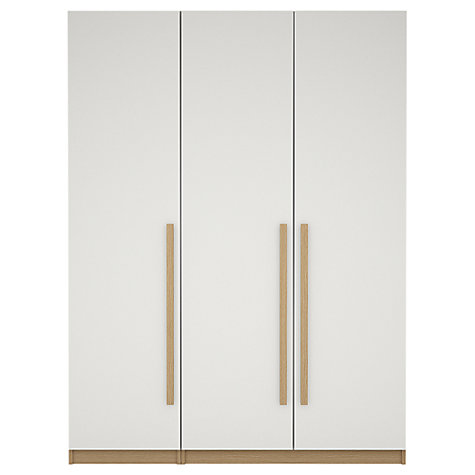 Buy House by John Lewis Mix it Block Handle Triple Wardrobe, Gloss White/Natural Oak Online at johnlewis.com