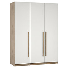 Buy House by John Lewis Mixit Block Handle Triple Wardrobe, Gloss White/Grey Ash Online at johnlewis.com