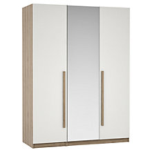 Buy House by John Lewis Mixit Block Handle Mirrored Triple Wardrobe, Gloss White/Grey Ash Online at johnlewis.com
