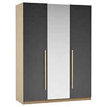 Buy House by John Lewis Mixit Block Handle Mirrored Triple Wardrobe, Gloss Grey/Natural Oak Online at johnlewis.com