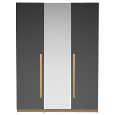 Buy House by John Lewis Mix it Block Handle Mirrored Triple Wardrobe, Gloss House Steel/Natural Oak Online at johnlewis.com