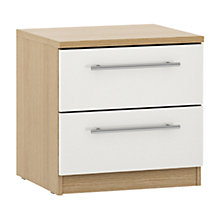 Buy House by John Lewis Mix it T-bar Handle 2 Drawer Bedside Chest, Gloss White/Natural Oak Online at johnlewis.com