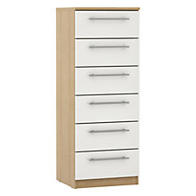 Buy John Lewis Mixit T-bar Handles Gloss Narrow 6 Drawer Chest, White/Natural Oak Online at johnlewis.com