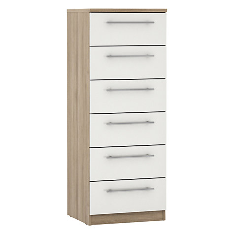 Buy House by John Lewis Mix it T-bar Handle Narrow 6 Drawer Chest, Gloss White/Grey Ash Online at johnlewis.com
