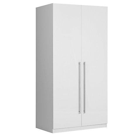 Buy House by John Lewis Mix it T-bar Handle Double Wardrobe, Gloss White/Matt White Online at johnlewis.com