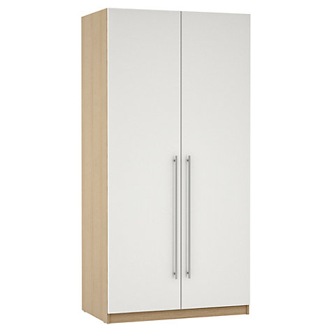 Buy John Lewis Mixit T-bar Handles Gloss Double Wardrobe, White/Natural Oak Online at johnlewis.com