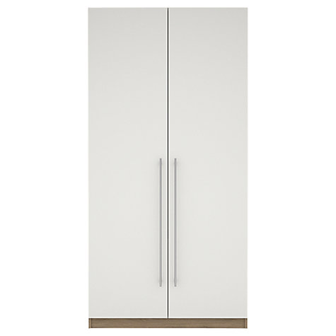 Buy House by John Lewis Mix it T-bar Handle Double Wardrobe, Gloss White/Grey Ash Online at johnlewis.com