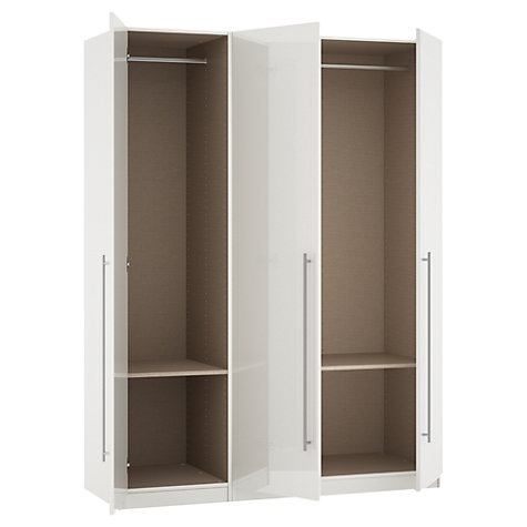 Buy House by John Lewis Mix it T-bar Handle Triple Wardrobe, Gloss White Online at johnlewis.com