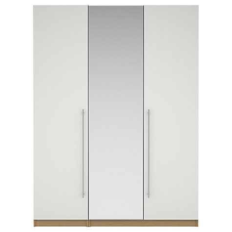 Buy House by John Lewis Mix it T-bar Handle Mirrored Triple Wardrobe, Gloss White/Natural Oak Online at johnlewis.com