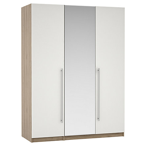 Buy House by John Lewis Mix it T-bar Handles Mirrored Triple Wardrobe, Gloss White/Grey Ash Online at johnlewis.com