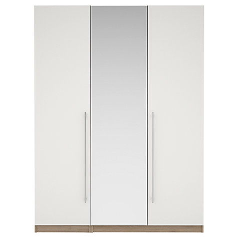 Buy House by John Lewis Mixit T-bar Handles Mirrored Triple Wardrobe, Gloss White/Grey Ash Online at johnlewis.com
