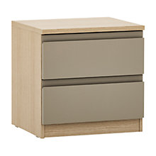 Buy John Lewis Mixit Matt 2 Drawer Bedside Chest, Stone/Natural Oak Online at johnlewis.com
