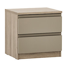 Buy House by John Lewis Mix it 2 Drawer Bedside Chest, Matt Stone/Grey Ash Online at johnlewis.com