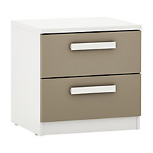 Buy House by John Lewis Mix it Block Handle 2 Drawer Bedside Chest, Matt Stone/White Online at johnlewis.com