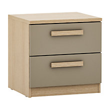 Buy House by John Lewis Mixit Block Handle  2 Drawer Bedside Chest, Matt Stone/NaturalOak Online at johnlewis.com