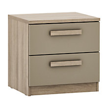 Buy House by John Lewis Mixit Block Handle 2 Drawer Bedside Chest, Matt Stone/Grey Ash Online at johnlewis.com