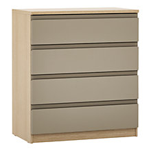 Buy John Lewis Mixit Matt Wide 4 Drawer Chest, Stone/Natural Oak Online at johnlewis.com