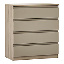 Buy John Lewis Mixit Matt Wide 4 Drawer Chest, Stone/Grey Ash Online at johnlewis.com