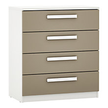 Buy House by John Lewis Mixit Block Handle Wide 4 Drawer Chest, Matt Stone/White Online at johnlewis.com