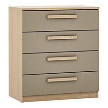 Buy House by John Lewis Mixit Block Handle Wide 4 Drawer Chest, Matt Stone/Natural Oak Online at johnlewis.com