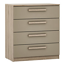 Buy House by John Lewis Mixit Block Handle Wide 4 Drawer Chest, Matt Stone/Grey Ash Online at johnlewis.com