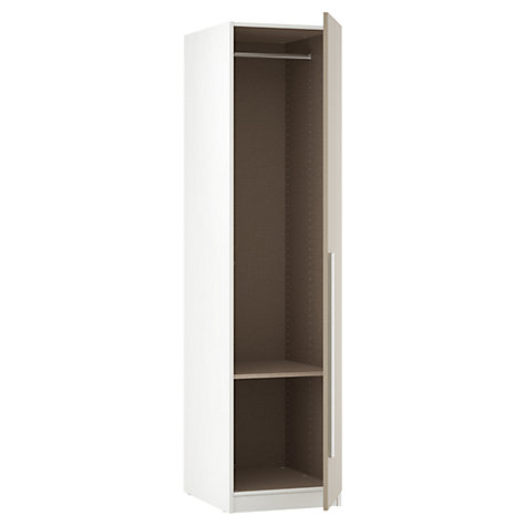 Buy House by John Lewis Mixit Block Handle Single Wardrobe, Matt Stone/White Online at johnlewis.com