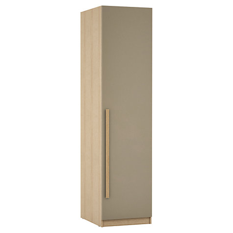 Buy House by John Lewis Mixit Block Handle Single Wardrobe, Matt Stone/Natural Oak Online at johnlewis.com