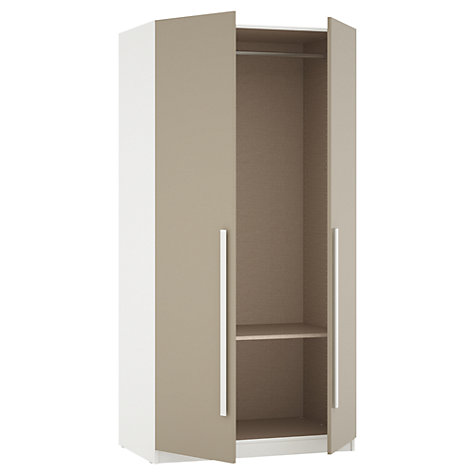 Buy House by John Lewis Mix it Block Handle Double Wardrobe, Matt Stone/White Online at johnlewis.com