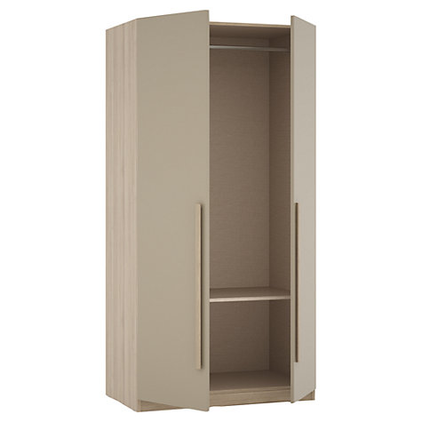 Buy House by John Lewis Mixit Block Handle Double Wardrobe, Matt Stone/Grey Ash Online at johnlewis.com
