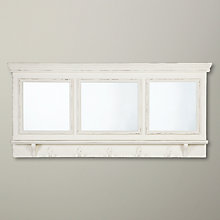 Buy John Lewis Bistro Mirror With Hooks, White, H50 x W105cm Online at johnlewis.com