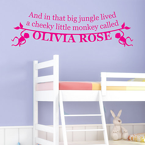 Buy Megan Claire Personalised Little Monkey Wall Sticker Online at johnlewis.com