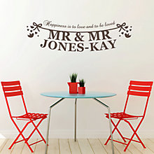 Buy Megan Claire Personalised Mr & Mr The Happy Couple Wall Sticker Online at johnlewis.com