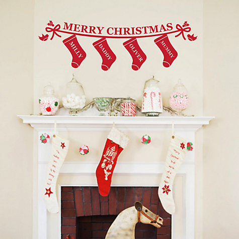 Buy Megan Claire Personalised Family Christmas Stockings Wall Sticker Online at johnlewis.com