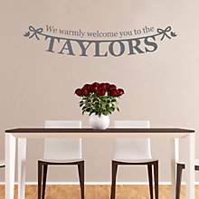 Buy Megan Claire Personalised A Warm Welcome Wall Sticker Online at johnlewis.com