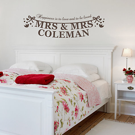 Buy Megan Claire Personalised Mrs & Mrs The Happy Couple Wall Sticker Online at johnlewis.com