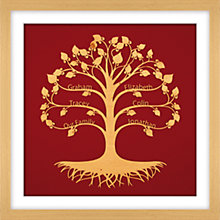 Buy Urban Twist Personalised Family Tree Framed 3D Cut-out, 52 x 52cm Online at johnlewis.com