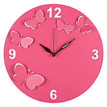 Buy Diamantini & Domeniconi Butterfly Wall Clock, Pink, Dia. 30cm Online at johnlewis.com