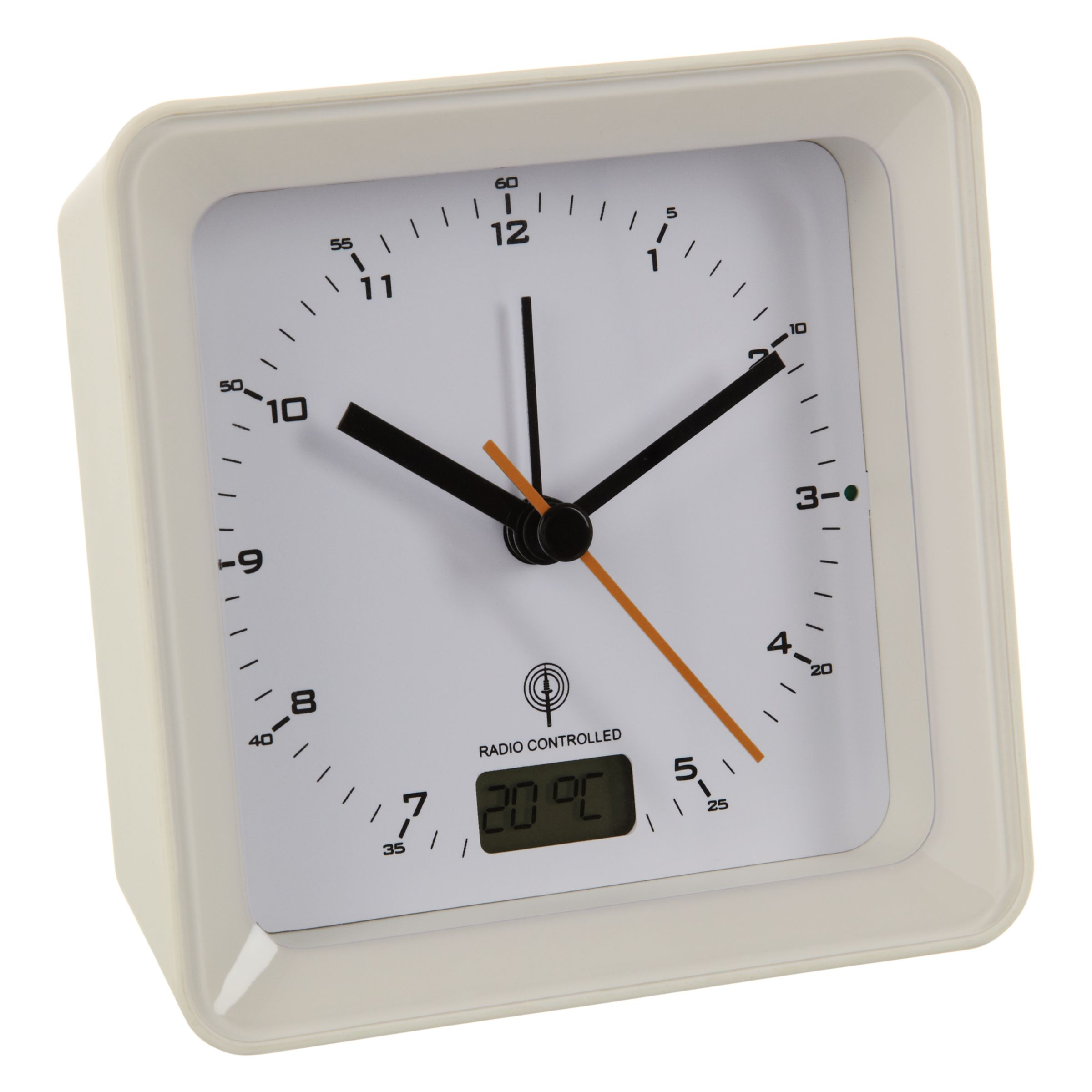 Acctim Radio Controlled Square Alarm Clock White
