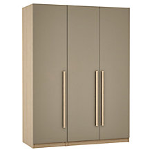 Buy House by John Lewis Mixit Block Handle Triple Wardrobe, Matt Stone/Natural Oak Online at johnlewis.com