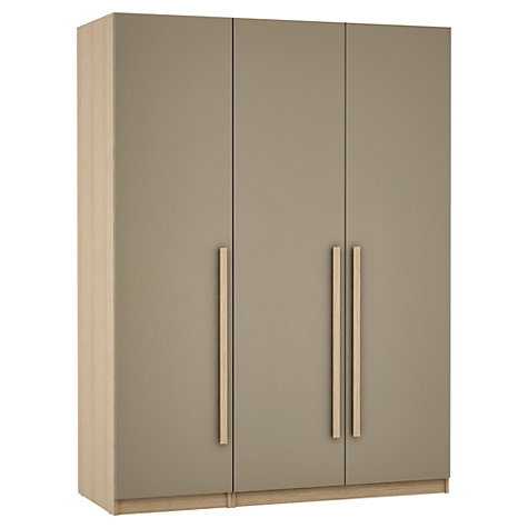 Buy House by John Lewis Mix it Block Handle Triple Wardrobe, Matt House Mocha/Natural Oak Online at johnlewis.com