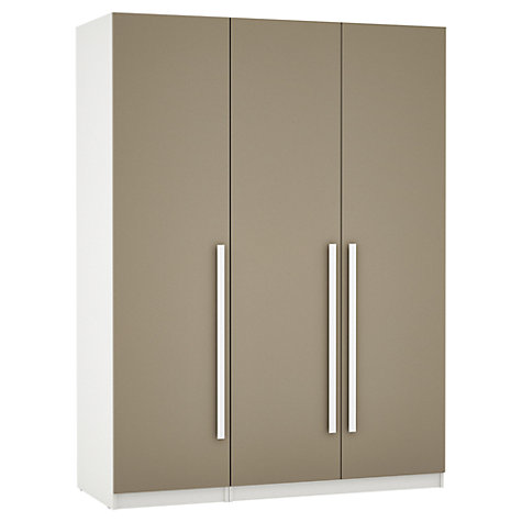Buy House by John Lewis Mixit Block Handle Triple Wardrobe, Matt Stone/White Online at johnlewis.com