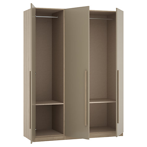 Buy House by John Lewis Mix it Block Handle Triple Wardrobe, Matt House Mocha/Grey Ash Online at johnlewis.com