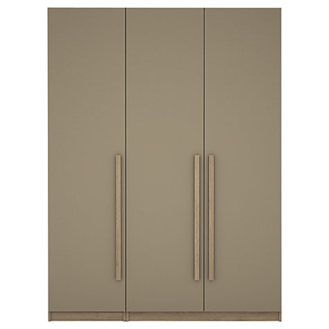 Buy House by John Lewis Mixit Block Handle Triple Wardrobe, Matt Stone/Grey Ash Online at johnlewis.com