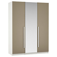 Buy John Lewis Mixit Matt Wrapped Handles Mirrored Triple Wardrobe, Stone/White Online at johnlewis.com