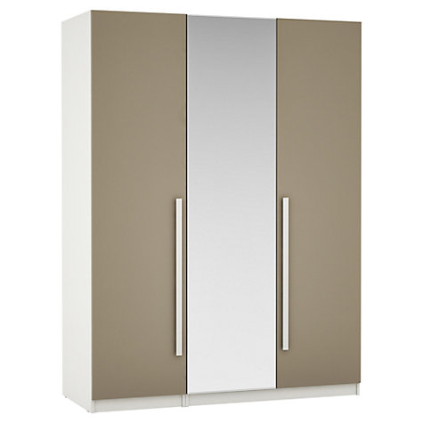 Buy House by John Lewis Mixit Block Handle Mirrored Triple Wardrobe, Matt Stone/White Online at johnlewis.com