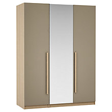 Buy House by John Lewis Mixit Block Handle Mirrored Triple Wardrobe, Matt Stone/Natural Oak Online at johnlewis.com