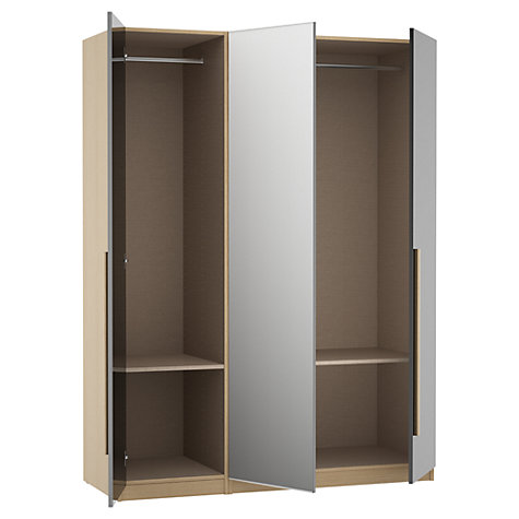 Buy House by John Lewis Mix it Block Handle Mirrored Triple Wardrobe, Matt Stone/Natural Oak Online at johnlewis.com