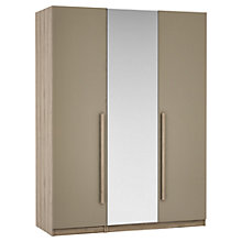 Buy House by John Lewis Mix it Block Handle Mirrored Triple Wardrobe, Matt Stone/Grey Ash Online at johnlewis.com